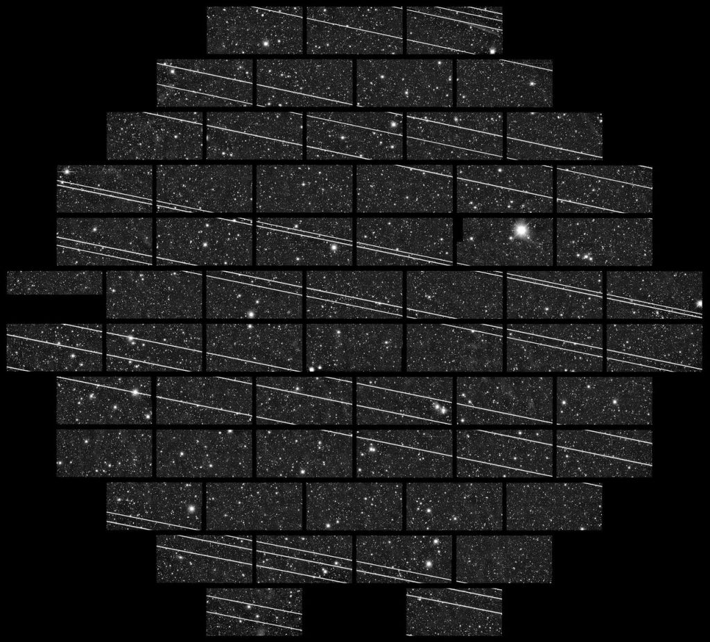 CTIO Mayall 4m DECam: A train of SpaceX Starlink satellites is seen in the night sky in this image captured with DECam on the Blanco 4-meter telescope at the Cerro Tololo Inter-American Observatory (CTIO) by astronomers Clara Martínez-Vázquez and Cliff Johnson.