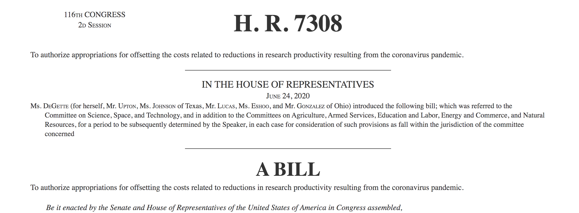 RISE Act authorization bill (H.R. 7308, S. 4286)