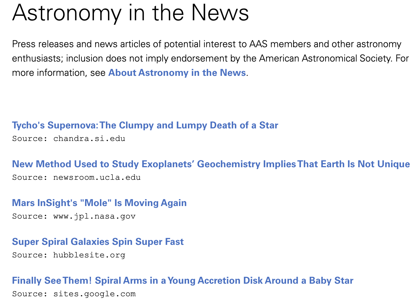Astronomy in the News Page