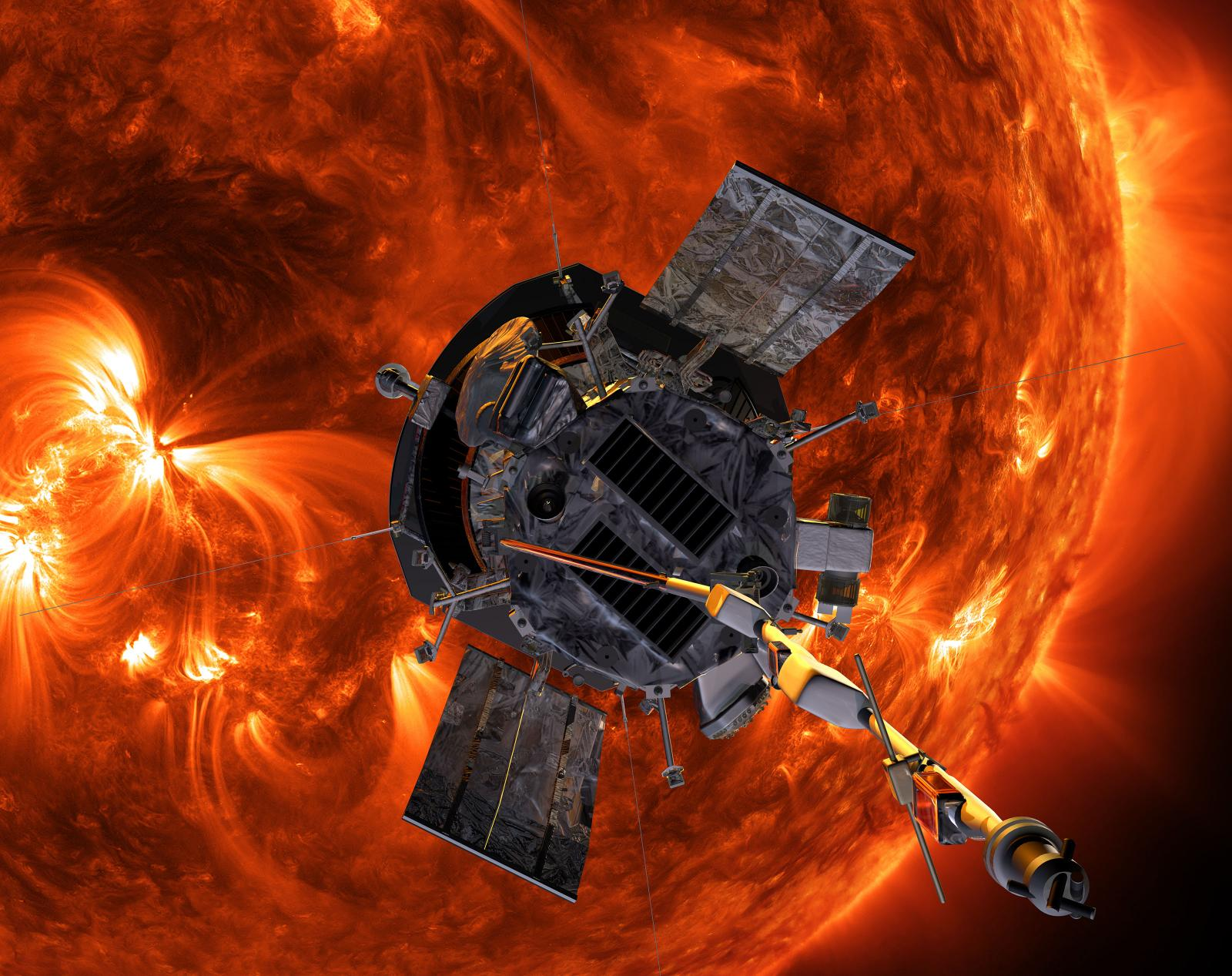 Artist's concept of Parker Solar Probe sweeping past the Sun